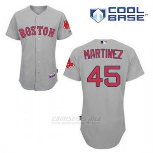 Camiseta Beisbol Hombre Boston Red Sox 45 Pedro Martinez Gris Cool Base
