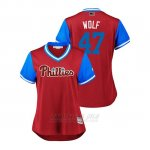 Camiseta Beisbol Mujer Philadelphia Phillies Aaron Loup 2018 Llws Players Weekend Wolf Scarlet