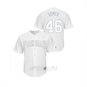 Camiseta Beisbol Hombre San Diego Padres 46 Eric Lauer 2019 Players Weekend Replica Blanco