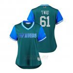 Camiseta Beisbol Mujer Seattle Mariners Casey Lawrence 2018 Llws Players Weekend Twig Aqua