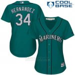 Camiseta Beisbol Mujer Seattle Mariners 34 Felix Hernandez Verde Alterno Cool Base