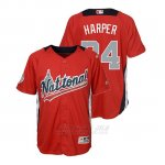 Camiseta Beisbol Nino All Star Game Majestic Bryce Harper 2018 Primera Run Derby National League Rojo
