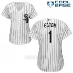 Camiseta Beisbol Mujer Chicago White Sox 1 Adam Eaton Blanco Autentico Coleccion Cool Base