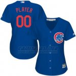 Camiseta Mujer Chicago Cubs Personalizada Azul