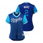 Camiseta Beisbol Mujer Kansas City Royals Alcides Escobar 2018 Llws Players Weekend Magic Royal