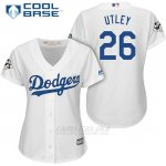 Camiseta Beisbol Mujer Los Angeles Dodgers 2017 World Series Chase Utley Blanco Cool Base