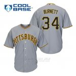 Camiseta Beisbol Hombre Pittsburgh Pirates A.j. Burnett 34 Gris Cool Base