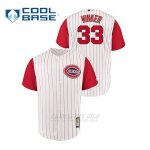 Camiseta Beisbol Hombre Cincinnati Reds 33 Jesse Winker Throwback 1961 Cool Base Blanco Rojo