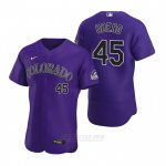 Camiseta Beisbol Hombre Colorado Rockies Scott Oberg Autentico 2020 Alterno Violeta