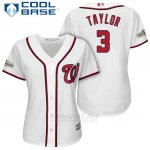 Camiseta Beisbol Mujer Washington Nationals 2017 Postemporada Michael Taylor Blanco Cool Base