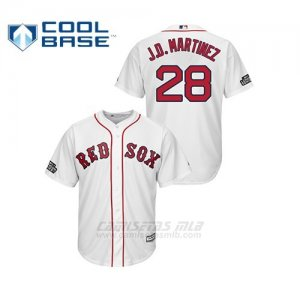 Camiseta Beisbol Hombre Boston Red Sox 28 J.d. Martinez Cool Base 2019 London Series Blanco