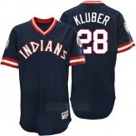 Camiseta Beisbol Hombre Cleveland Indians Corey Kluber Azul Turn Back The Clock