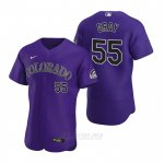Camiseta Beisbol Hombre Colorado Rockies Jon Gray Autentico 2020 Alterno Violeta