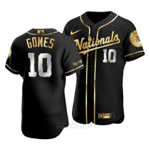 Camiseta Beisbol Hombre Washington Nationals Yan Gomes Golden Edition Autentico Negro Oro