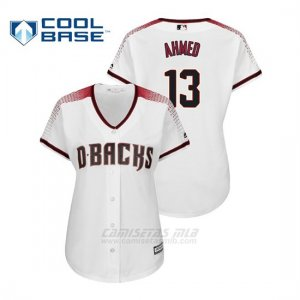 Camiseta Beisbol Mujer Arizona Diamondbacks Nick Ahmed Cool Base Majestic Primera Blanco