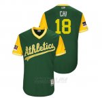 Camiseta Beisbol Hombre Oakland Athletics Chad Pinder 2018 Llws Players Weekend Chi Green