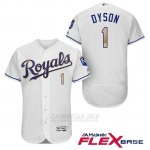 Camiseta Beisbol Hombre Kansas City Royals 1 Jarrod Dyson Blanco 2017 Flex Base
