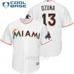 Camiseta Beisbol Hombre Miami Marlins 13 Marchell Ozuna Blanco 2017 Cool Base