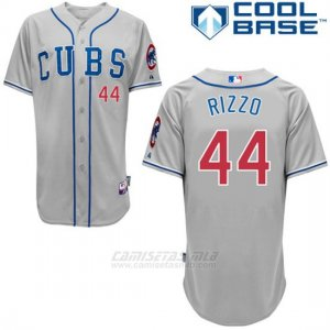 Camiseta Beisbol Hombre Chicago Cubs 44 Anthony Rizzo Autentico Coleccion Gris Cool Base
