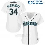 Camiseta Beisbol Mujer Seattle Mariners 34 Felix Hernandez Blanco Cool Base