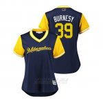 Camiseta Beisbol Mujer Milwaukee Brewers Corbin Burnes 2018 Llws Players Weekend Burnesy Azul