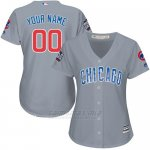 Camiseta Mujer Chicago Cubs Personalizada Gris