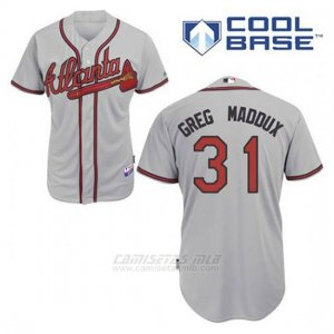 Camiseta Beisbol Hombre Atlanta Braves 31 Greg Maddux Gris Cool Base