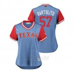 Camiseta Beisbol Mujer Texas Rangers Ariel Jurado 2018 Llws Players Weekend Bartolito Light Toronto Blue Jays
