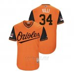 Camiseta Beisbol Hombre Baltimore Orioles Jonathan Villar 2018 Llws Players Weekend Villi Orange