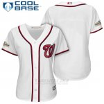 Camiseta Beisbol Mujer Washington Nationals 2017 Postemporada Blanco Cool Base