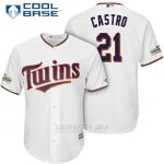 Camiseta Beisbol Hombre Minnesota Twins 2017 Postemporada Jason Castro Blanco Cool Base