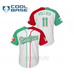 Camiseta Beisbol Hombre Los Angeles Dodgers 11 A.j. Pollock Cool Base Mexican Heritage Night Blanco