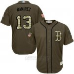 Camiseta Beisbol Hombre Boston Red Sox 13 Hanley Ramirez Verde Salute To Service