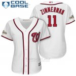 Camiseta Beisbol Mujer Washington Nationals 2017 Postemporada Ryan Zimmerman Blanco Cool Base