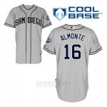 Camiseta Beisbol Hombre San Diego Padres Abraham Almonte 16 Gris Cool Base