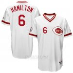 Camiseta Beisbol Hombre Cincinnati Reds 6 Billy Hamilton Blanco Turn Back The Clock