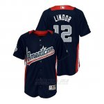 Camiseta Beisbol Nino All Star Game Majestic Francisco Lindor 2018 Primera Run Derby American League Azul