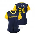 Camiseta Beisbol Mujer Milwaukee Brewers Jesus Aguilar 2018 Llws Players Weekend El Causa Azul