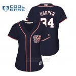 Camiseta Beisbol Mujer Washington Nationals Bryce Harper Cool Base Majestic Alternato Azul