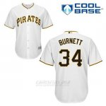 Camiseta Beisbol Hombre Pittsburgh Pirates A.j. Burnett 34 Blanco 1ª Cool Base