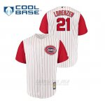 Camiseta Beisbol Hombre Cincinnati Reds 21 Michael Lorenzen Throwback 1961 Cool Base Blanco Rojo