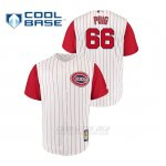 Camiseta Beisbol Hombre Cincinnati Reds 68 Yasiel Puig Throwback 1961 Cool Base Blanco Rojo