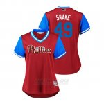 Camiseta Beisbol Mujer Philadelphia Phillies Jake Arrieta 2018 Llws Players Weekend Snake Scarlet