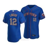 Camiseta Beisbol Hombre New York Mets Francisco Lindor Autentico Alterno Azul