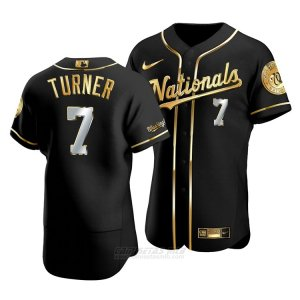 Camiseta Beisbol Hombre Washington Nationals Trea Turner Golden Edition Autentico Negro Oro