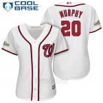 Camiseta Beisbol Mujer Washington Nationals 2017 Postemporada Daniel Murphy Blanco Cool Base