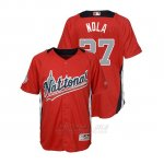 Camiseta Beisbol Nino All Star Game Majestic Aaron Nola 2018 Primera Run Derby National League Rojo