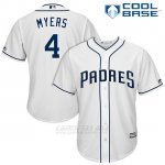 Camiseta Beisbol Hombre San Diego Padres 4 Wil Myers Blanco 2017 Cool Base