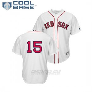 Camiseta Beisbol Hombre Boston Red Sox Dustin Pedroia Cool Base Replica Primera Blanco