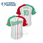 Camiseta Beisbol Hombre Los Angeles Dodgers 10 Justin Turner Mexican Heritage Night Cool Base Blanco